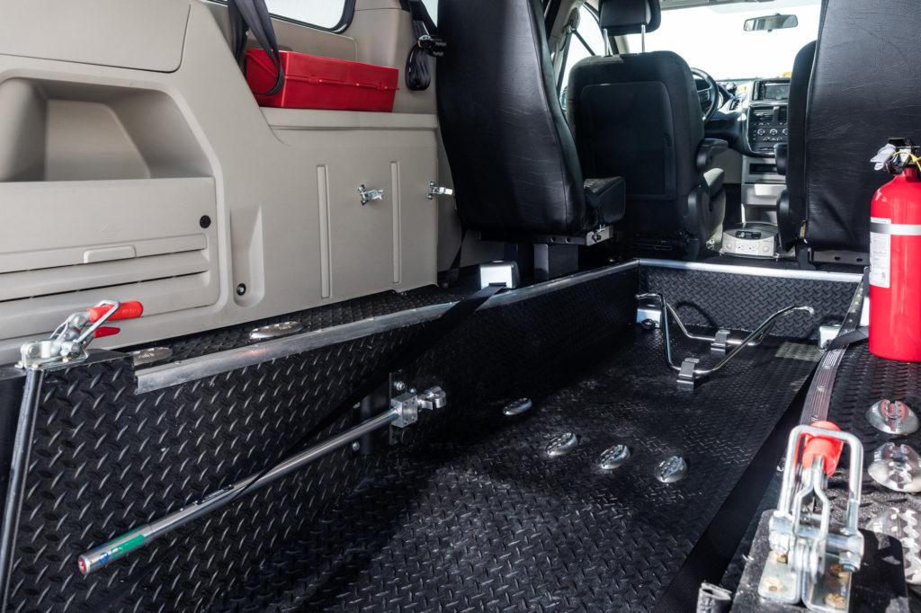 Dodge Caravan Rear entry wheelchair accessible conversion mini van interior